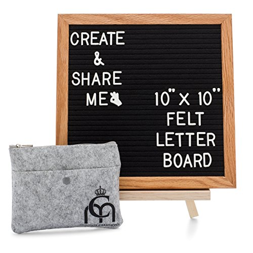 Message Board; Changeable Felt Letter Board; Wooden Black Felt Oak Frame 10x10 & 364 PreCut Letters with Stand; Perfect Gift for Home Decor, Toddlers, Business, Bulletin Sign & Baby Announcement Board -