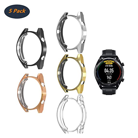 Compatible with Huawei Watch GT/Active 46mm Watch Case, FOLOME Soft TPU Plated [Scratch-Proof] All-Around Protective Bumper Shell Cover ...