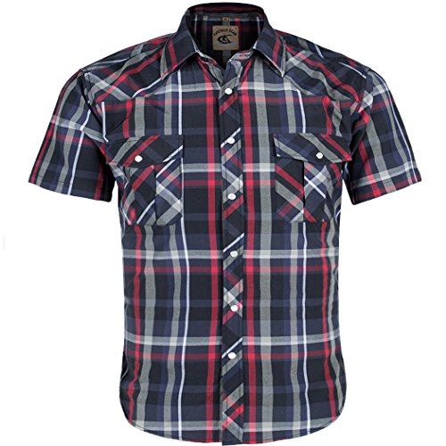 (Coevals Club Men's Button Down Plaid Short Sleeve Work Casual Shirt (Red & Black#6, XL))
