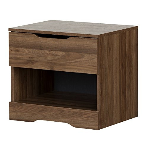 South Shore 11284 Holland 1-Drawer Nightstand, Natural Walnut (1 Natural Drawer)