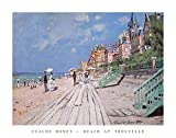 Beach at Trouville, 1870 Poster by Claude Monet 28 x 22in