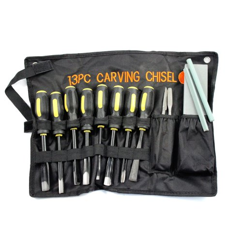SE 7713WC Professional Wood Carving Set with Heavy Duty Cloth Pouch (13 PC.)