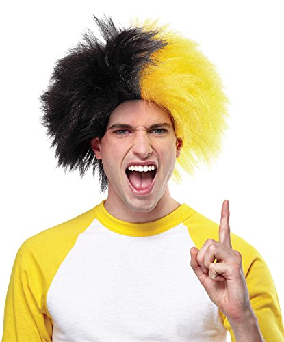 Crazy Sports Fan Wig color Gold & Black - Fun Spiky Steelers Owls Bruins Penguins Team Troll Style Synthetic -