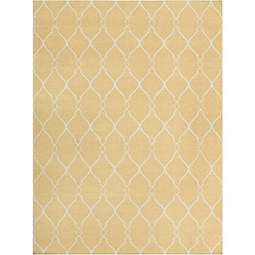Surya Jill Rosenwald by Fallon FAL-1001 Flatweave Hand Woven 100% Wool Gold 8' x 11' Global Area (Fallon Wool Rug)