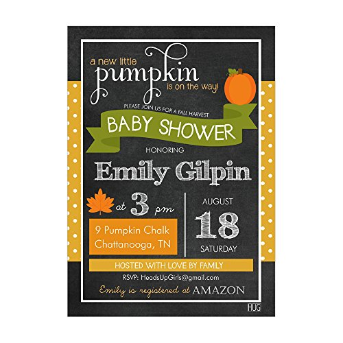 Set of 12 Customizable Personalized Baby Shower Invitations and Envelopes with Fall Pumpkin Chalk Gender Neutral NVF009