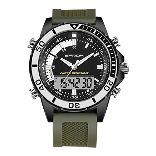 5296 LED Night Light Display & Stopwatch & Alarm & Date And Week Function Men Quartz + Digital Dual Movement Watch With Silicone Band (SKU : Wa0109gb) by Dig dog bone (Image #2)