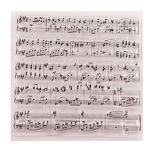 3.9 by 3.9 Inches Music Notes Clear Rubber Stamps for Scrapbooking Card Making Christmas Thanksgiving Clear Stamps