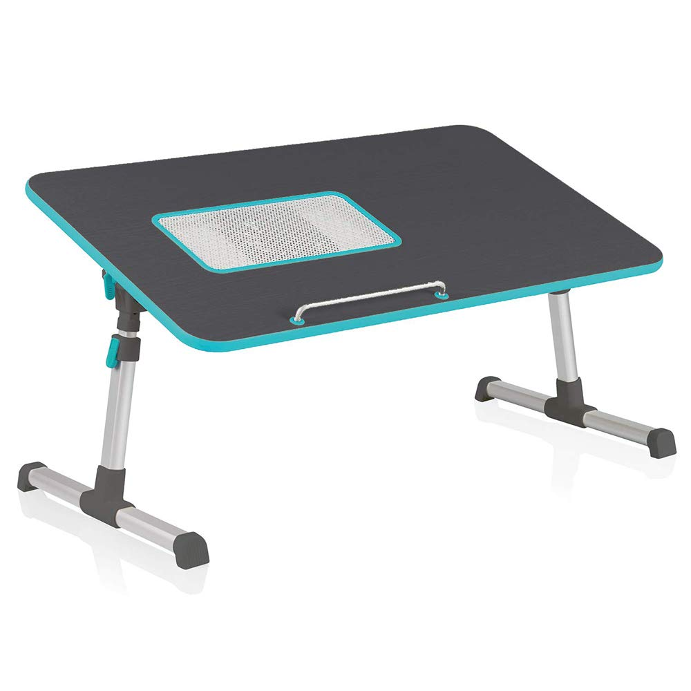Black Portable Folding Laptop Desk,for Desk Bed Couch Floor,Table with Handle,Height and Angle Adjustable Sit and Stand Desk,Black