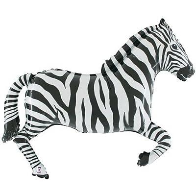 Zebra - Black & White - 43 Inch Foil Balloon - Jungle Party Balloon: Toys & Games