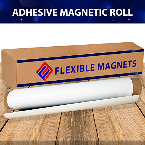 Flexible Magnet Sheet With Adhesive, 30mil Thick. Ideal for DIY Projects at Home - Office - Auto - Shop - Crafts and More! (2' x 5')