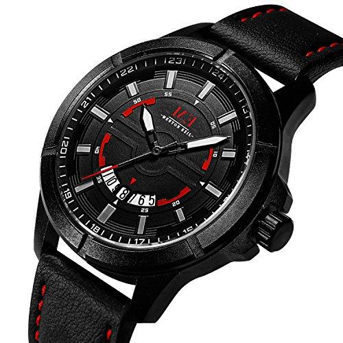 Men's Fashion Steel Analog Watch Genuie Leather Strap Luminous Auto Date Quartz Wristwatches With 30M Waterproof for Men