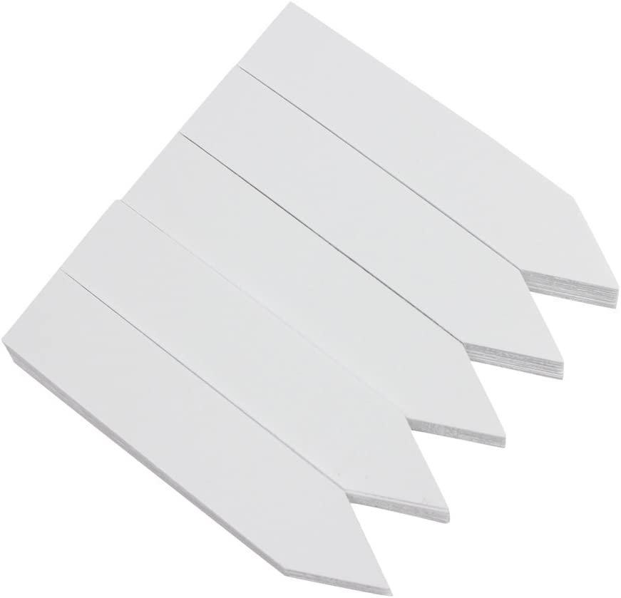 Mziart 100Pcs Plastic Plant Tags 4 Inch Nursery Garden Labels Markers for Seed Trays and Pots Greenhouse (White)