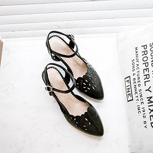 Charm Foot Mujeres Tobillo Correa Chunky Pointed Toe Pumps Zapatos Negro