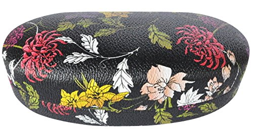 Colorful Hard Shell Eyeglass Sunglass and Gadgets Case, Hard Clamshell Protective Glasses Case for Men and Women - Black Wild Flower (Microfiber Cleaning Pouch - Designer Sunglasses Bargain