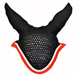 Manaal Enterprises Horse Soft Crochet Breathable Cotton Ear Net Hood Ear Protector Bonnet Equestrain with Piping Cotton Black & Red Horse Flyveil (Cob)