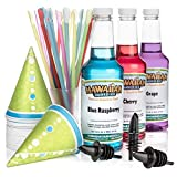 Hawaiian Shaved Ice 3 Flavor Fun Pack of Snow Cone Syrup | Kit Features 25 Snow Cone Cups, 25 Spoon Straws, 3 Black...