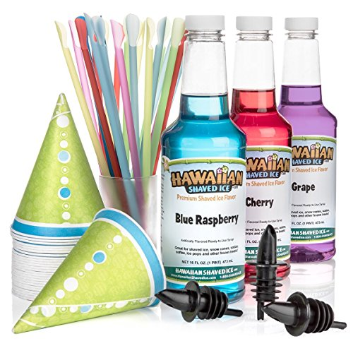 Hawaiian Shaved Ice 3 Flavor Fun Pack of Snow Cone Syrup | Kit Features 25 Snow Cone Cups, 25 Spoon Straws, 3 Black Bottle Pourers & Shaved Ice Syrup Flavors - Cherry, Grape, Blue Raspberry