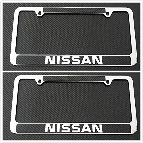 Tuesnut 2X Stainless Steel Black Carbon Fiber Vinyl License Plate Frame Covers Holder Screws Caps Rust Free for Nissan (Frame Plate License Nissan)