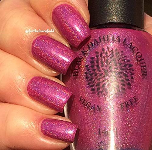 Velvet Magnolia | Magenta Holo Nail Polish with Strong Blue Flash | by Black Dahlia Lacquer