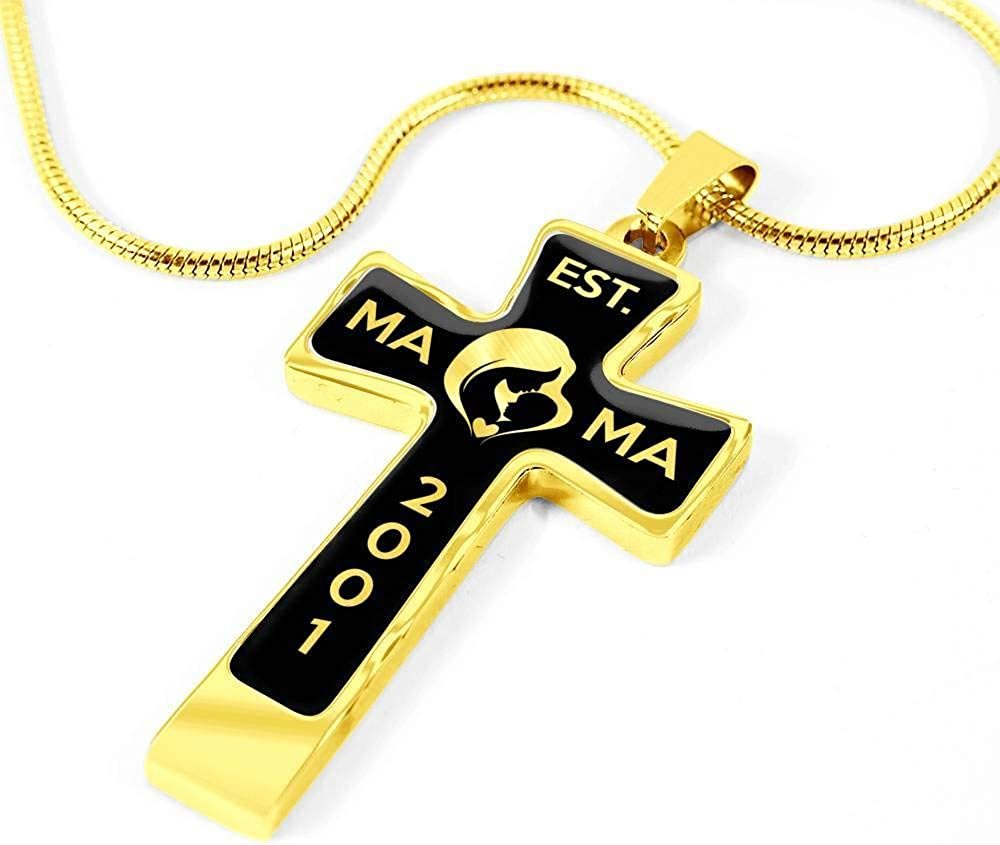 2001 v2-18k Gold Finished Luxury Cross Necklace Est Unique Gifts Store Mama