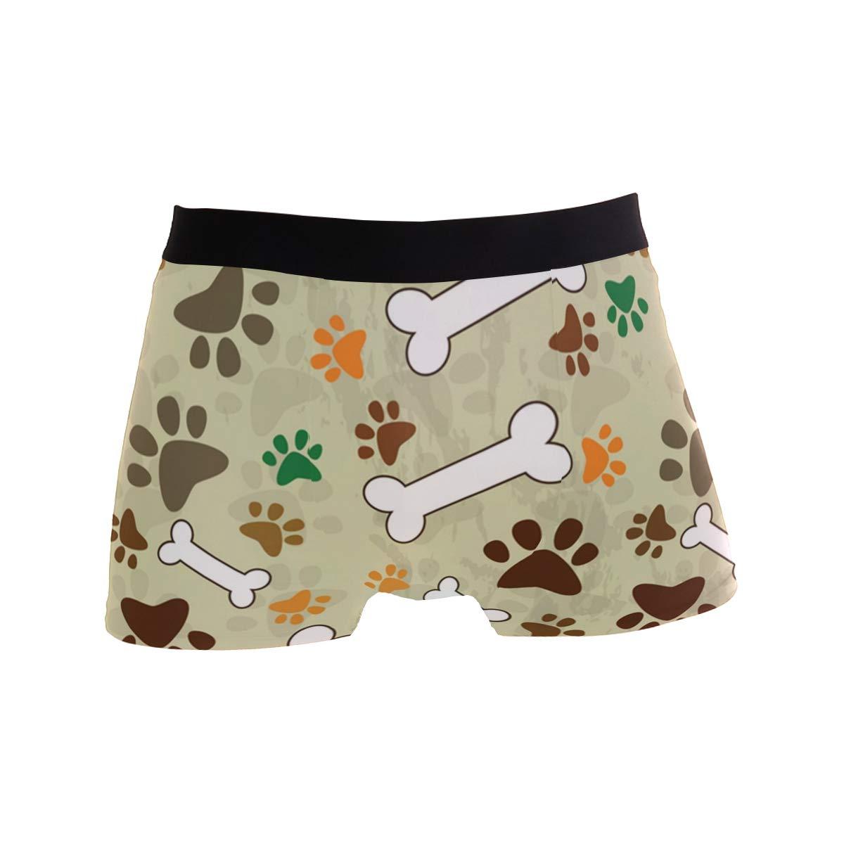Hipster Dog Paw Print Bone Boxer Briefs Mens Underwear Pack Seamless Comfort Soft