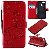 Huawei Honor 7X Wallet Case,SMYTU Premium Emboss Butterfly Pattern Flip Wallet Shell PU Leather Magnetic Cover Skin with Wrist Strap Case for Samsung Huawei Honor 7X 6.2(B-Red) Review