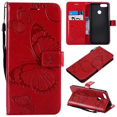 Huawei Honor 7X Wallet Case,SMYTU Premium Emboss Butterfly Pattern Flip Wallet Shell PU Leather Magnetic Cover Skin with Wrist Strap Case for Samsung Huawei Honor 7X 6.2(B-Red)