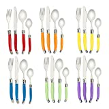 Flying Colors Laguiole Stainless Steel Flatware Set. MultiColor Handle, Gift Box, 24 Pieces