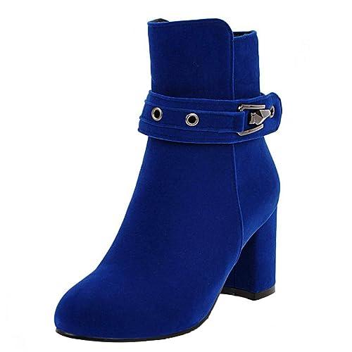 AIYOUMEI Damen Chunky Heel Ankle Boots mit Schnallen Klassischer Stiefeletten Blockabsatz Samt Herbst Stiefel