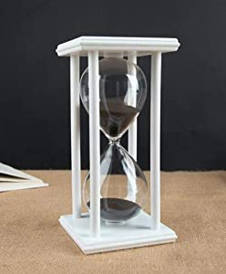 Hourglass Timer for 60 Minutes Sandglass Timer for Kitchen Living Room Home Office Desk Bedroom Party Festival Coffee Table Book Shelf School Game Sand Timer Clock (white frame black sand)