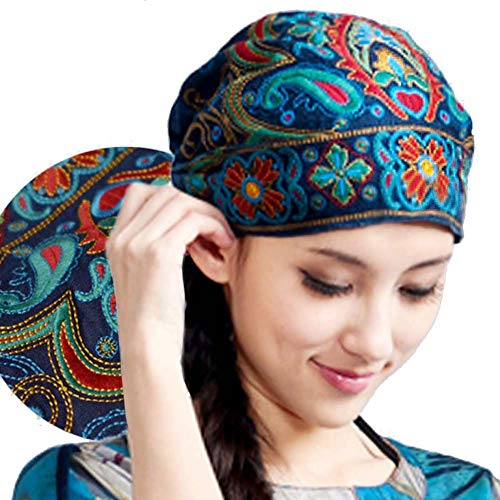 SUNNYHILL China Yunnan Embroidered Turban Role Play Decorative Dance Hat for Women -
