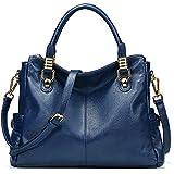 AINIMOER Womens Genuine Leather Vintage Tote Shoulder Bag Top-handle Crossbody Handbags Large Capacity Ladies' Purse (Blue)
