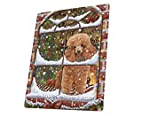 Please Come Home For Christmas Poodles Sitting In Window Art Portrait Print Woven Throw Sherpa Plush Fleece Blanket (60X80 Woven)