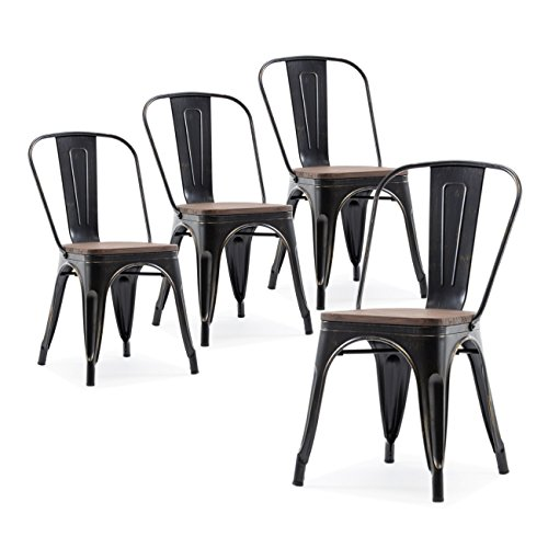 Cheap Belleze Set of 4 Wood Seat Cafe Bar Stool Modern Style Metal Industrial Stackable Bistro Dining Chairs Antique Black