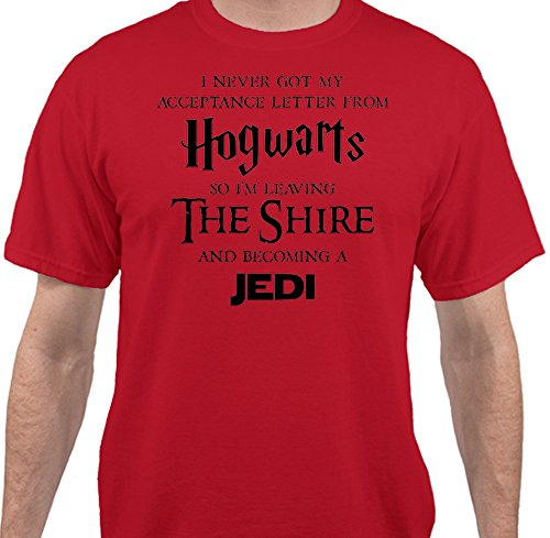 [Hogwarts Harry Potter Star Wars Jedi Inspired Funny Slogan Men's T-Shirt - Red - 2XLarge] (Cheap Star Wars Shirts)