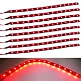 red automotive led light strips - XT AUTO 8pcs 12V Super Bright 30cm 15 LED Flexible Waterproof LED Strip light For Car Interior & Exterior Decoration DRL Day Running Light Or Boat Bus Garden