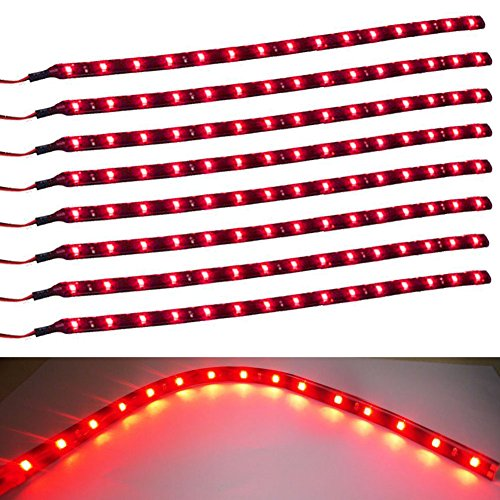 Red Led Interior Lights (XT AUTO 8pcs 12V Super Bright 30cm 15 LED Flexible Waterproof LED Strip light For Car Interior & Exterior Decoration DRL Day Running Light Or Boat Bus Garden)