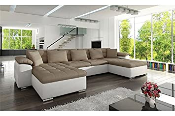 chloe design canap panoramique convertible pu tissu clea rversible cappuccino blanc - Canape Panoramique Convertible