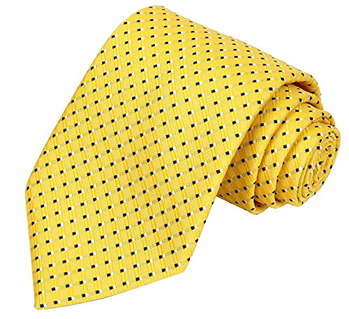 KissTies Blue White Dot Yellow Tie Extra Long Necktie+Gift Box (63'' XL) (Extra Long Ties)