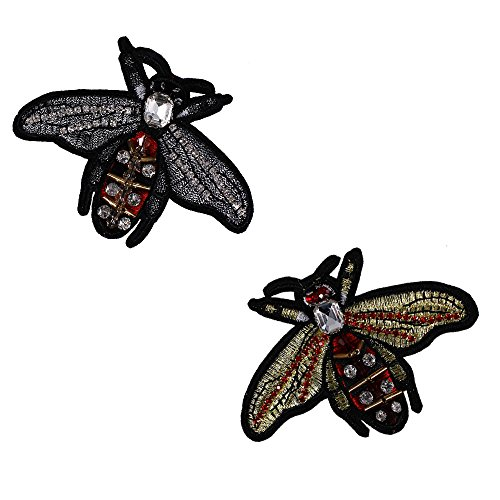 Beading Diamond Bee Fabric Patches Crystal Rhinestones Embroidery Applique Motif Badge for Brooches 5pieces