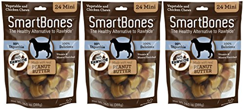 (3 Pack) SmartBones Vegetable and Chicken Mini Bones with Real Peanut Butter - 24 Bones per Pack
