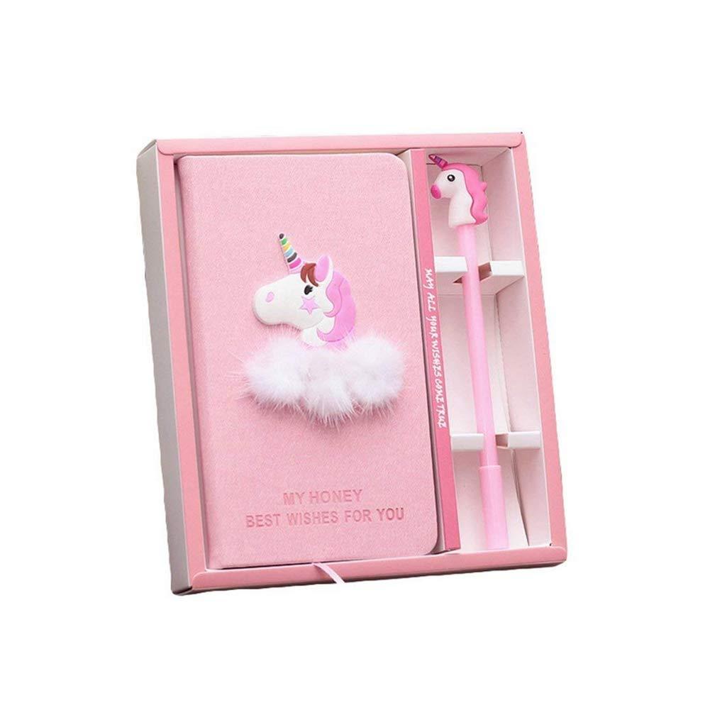 unicorno rosa notebook box set diario con penna gel cancelleria scuola forniture regalo per bambini studenti Hemore
