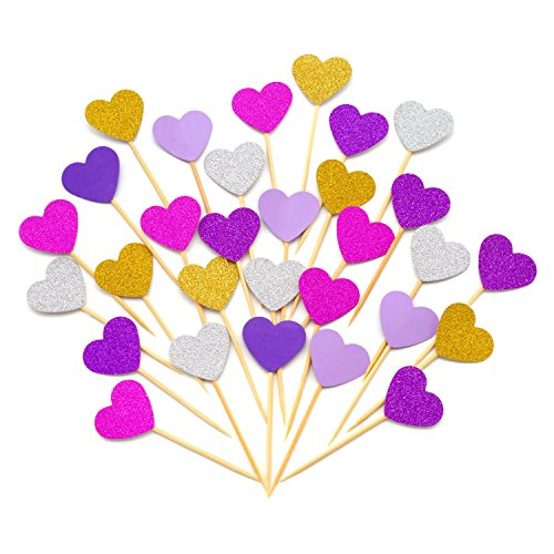 (Cupcake Toppers 30Pcs Set, GUCUJI Funny Heart Glitter Mini Birthday Cake Snack Decorations Picks Suppliers Party Accessories for Wedding and Baby Birthday (Purple)