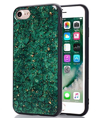 - WALAGO Emerald Green Marble Case for iPhone 7, Shiny Gold Foil Case for Girls Flexible Bumper Soft TPU Rubber Cover Phone Case for iPhone 7 8 [4.7 inch]