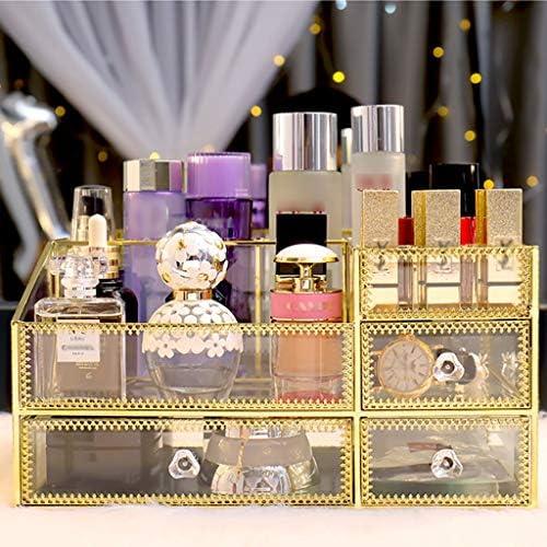 化粧品収納ボックス レトロ化粧品収納ボックス家庭用棚あり引き出し引き出し口紅マスクスキンケアガラスベゼルインレイ透明 DWWSP