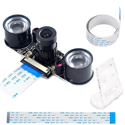 MakerFocus Raspberry Pi Camera Night Vision Camera Adjustable-Focus Module 5MP OV5647 Webcam Video 1080p and 15CM 50CM FFC Adapter Cables and Camera Mount by MakerFocus