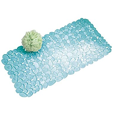 InterDesign Pebblz Non-Slip Suction Bath Mat for Shower, Bathtub - Blue