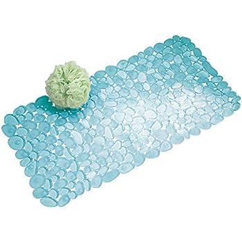 InterDesign Pebblz Non-Slip Suction Bath Mat – Mat for Shower or Tub, Blue
