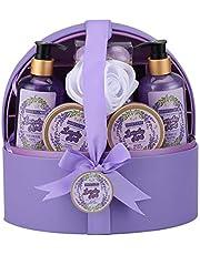 Spa-presentkorg för kvinnor, presentset för badrum och kropp med smyckesetui, lyxig lavendel, 12 delar, inklusive skumbad, badbomb, lotion och mycket mer, bästa presenten till mors dag