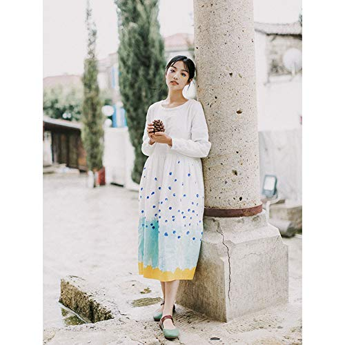 Art Dot Stampa Colorblock Lungo Abito Hechen Donna Gonna wq66Rg